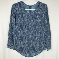 NYDJ Not Your Daughter's Jeans Women's Blouse Size XS Blue plaid Long Sleeves