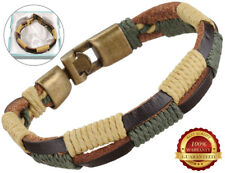 Genuine Surfer Leather Bracelet Wristband Mens Bronze Buckle Braided Rope Cuff