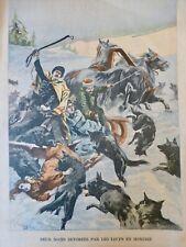 1901 HONGRIE MEUTE LOUP ATTAQUE DEVORER CROC DEUX NOCES CHEVAUX TRAINEAU
