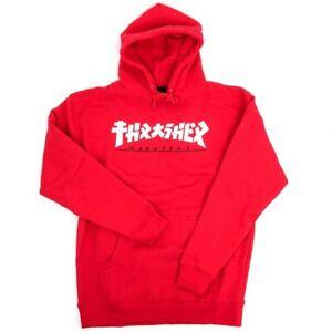 THRASHER MAGAZINE Felpa Thrasher Godzilla Hood Felpa CAPPUCC.Uomo Red E35THRGOD