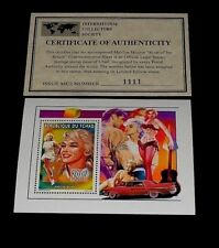 1996, CHAD, MARILYN MONROE, LIMITED EDITION, 200f SOUVENIR SHEET, W/COA