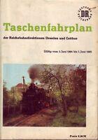 Fahrplan Reichsbahndirektionen Dresden u. Cottbus 1984 bis 1985