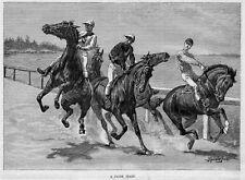 FREDERIC REMINGTON HORSE RACING A FALSE START JOCKEY 1887 RACE HORSE ENGRAVING