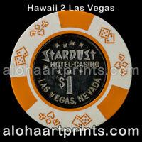 $1 Vintage Stardust Hotel & Casino Las Vegas Poker Chip Metal Inlay Bud Jones
