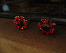 Vintage Butler & Wilson Ruby & Garnet Red Round Cluster Clip Earrings