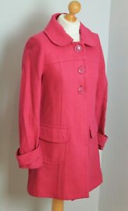WAREHOUSE Bright Pink Button Down Wool Blend Longline 60s Style Peacoat Size 10