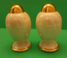 Vintage Beautiful Lusterware Gold Trimmed Salt and Pepper Shakers