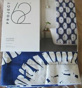 Project 62 Shower Curtain Navy Blue Medallion 72 x 72 Bath Fabric New