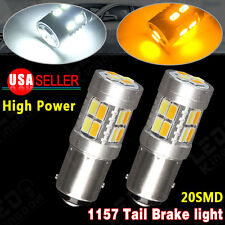2x Dual Color White/Amber Switchback 1157 20-SMD 5730 LED Light Bulbs Tail Brake