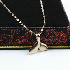 Whale Tale Pendant Necklace Love Charm Cable Chain 17'' New Gold