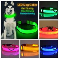 LED Light up Dog Collar Pet Night Safety Bright Flashing Adjustable Nylon Leash