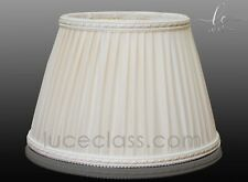 paralume cappello per lampada tondo plissettato avorio arricciato tessuto stoffa