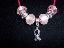 "PINK Handmade Tibetan Silver CANCER AWARENESS ""Hope"" Charm Crystal Necklace N-21"