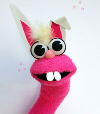 Rabbit Sock Puppet New handmade Hand Sock Puppet with polymer clay teeth