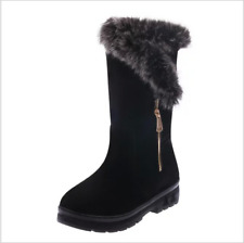 Womens Ladies Winter Boots Snow Fur Warm Comfy Casual Fashion Mid Calf Shoe Size
