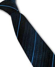 Vintage 1960s Corbata Fina Azul y Negro Rat Pack Mod 6.5cm st Michael M&S