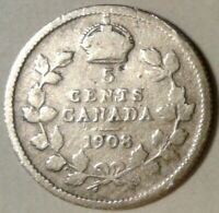 1908 CANADA SILVER FIVE CENTS Coin