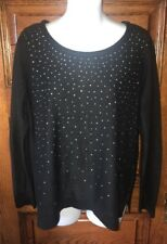 New $50 APT 9 Black with Silver Studs Studded SWEATER Size Petite Large PL, NWT