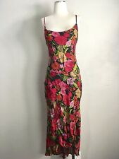 Betsey Johnson Vintage floral Print Bias Cut Slip Dress Small Silk dresses red
