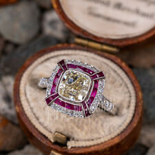 Cushion Moissanite 925 Sterling Silver 6 Ruby Engagement Ring 2.79 Ct Off White