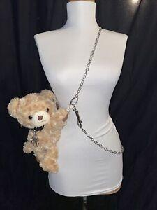 Beige Plush Teddy Bear Purse Spike Collar Chain Strap Bag Gothic Earring