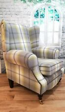 Wing Back Fireside Queen Anne  Chair in  Balmoral Citrus/Grey Tartan Fabric