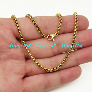 """18K Yellow Gold Filled Tarnish-Free Italian 18""""2mm Round Box Chain Necklace J5KY"""