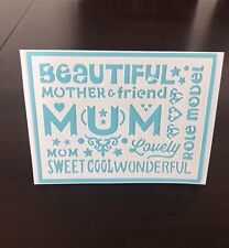 Mother's Day Card, Layered Paper, Quote,  Turquoise Color, Free Shipping