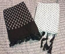 Damen Schal Tuch Dreieckstuch Fransen weiß schwarz Pali XXL Schnäppchen wie NEU