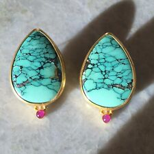 GURHAN 24k Gold Turquoise Ruby One of a Kind Earrings Rare Statement