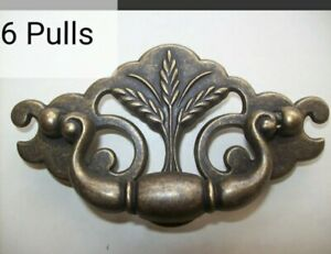 """Lot of 6 Vintage Bail Drawer Pulls By Keeler Brass Co USA 3"""" Centers Wheat NOS"""