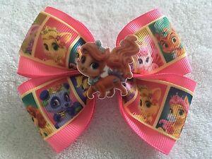 "Girls Hair Bow 4"" Wide Palace Pets Ribbon Pink Ribbon Treasure French Barrette"