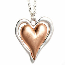 Lagenlook rose gold & silver large double heart pendant long necklace jewellery
