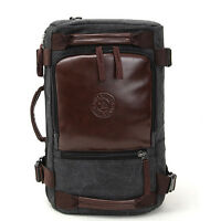 outdoor Mens Canvas leather Travel Backpack Rucksack Laptop Satchel Shoulder Bag