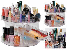 360 ROTATING ACRYLIC VERSATILE BEAUTY CADDY COSMETIC ORGANIZER MAKEUP BOX HOLDER
