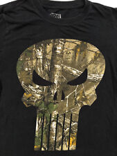 Marvel Comics The Punisher Camo Realtree Mens Black T Shirt Sz S
