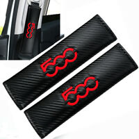 Red 500 Logo x2 Seat Belt Covers Embroidered Carbon Fibre Pads Fits Fiat 500 595