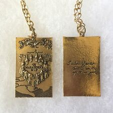 Harry Potter Marauders Map Engraved Solemnly Swear Hogwarts Pendant Necklace