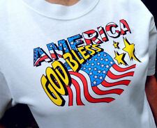 "Christian ""God Bless America"" White Tshirt Unisex Small Size - NICE!"