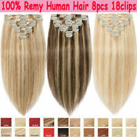 CLEARANCE Clip in Human Hair Extensions Full Head 100% Real Remy Hair Women M201
