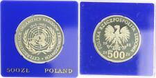 500 Zlotych 1985, Polen, Silbermünze 40 Jahre Vereinte Nationen., PP in Kapsel