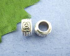 80 Bigiotteria Distanziatori Perle Tubo Argento antico 7mm