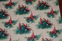 Vintage CHRISTMAS WRAPPING PAPER GIFT WRAP CANDLE & GREENERY 1950's MID-CENTURY