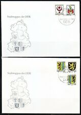 Germany DDR 1984 FDC covers Mi 2857-2861 Sc 2398-2402 City arms