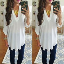 Women Loose Long Sleeve Casual Blouse Shirt Tops Fashion Blouse White XL CHC08