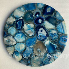 "18"" Blue Agate coffee Table Top Pietradura Handmade Work  home room decor"