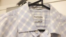 VAN HEUSEN CLASSIC RELAXED FIT SHIRT CHECK FRENCH CUFF BLUE SIZE 40