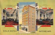 Natchez Mississippi Eola Hotel Multiview Linen Antique Postcard K13335
