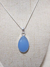Natural Soft Blue Chalcedondy Gemstone Pendant & Silver Plated Chain ~ Necklace