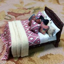 "Pat Tyler Dollhouse Miniatur 1/2"" One Half-Inch Scale Dressed Bed Southwest 1:24"